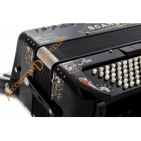 Scandalli Air I S 41 key 120 bass 4 voice black piano accordion with decoration and chin coupler. MIDI options available.